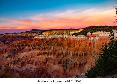 Incredible rainbow sunset at Cedar Breaks National Monument in Utah.