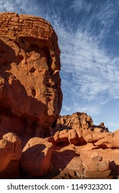Incredible rock formation that looks like a face or Buddha in Valley of Fire State Park near Las Vegas, Nevada USA.