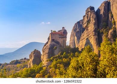 Incredible rock formations UNESCO World Heritage since 1988, The Monastery of St. Nicholas Anapavsa one of largest built of Eastern Orthodox in Meteora, Kalambaka, City Kastraki, Greece.