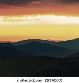 incredible summer view on mountains on background gold sunlight of sky, morning dawn scectacular scenery, superb nature image