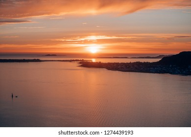 Incredible sunset above the sea in north norway