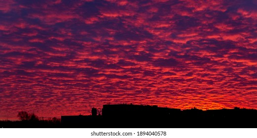 incredible sunset fiery sky red and purple clouds
