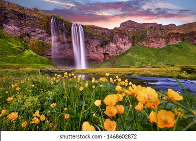 Incredible sunset on Seljalandsfoss. One of the most beautiful waterfalls on the Iceland, Europe. Popular and famous tourist attraction summer holiday destination in on South Iceland. Travel postcard