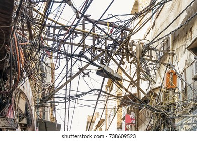 Incredible tangle of electric cables, Old Delhi, India