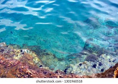 incredible turquoise and trasparent  water at Maratea, Basilicata region, Italy
