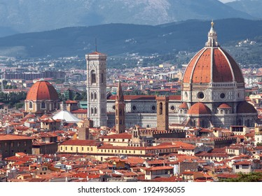 incredible view of the city of Florence with the cathedral with the large dome and Giotto's bell tower with vivid colors