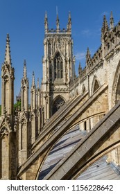 Incredible view of the flying buttresses and architectural details of York Minster Cathedral in Yorkshire, England UK.
