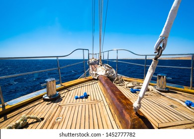 Incredible view from motor yacht on deep blue sea and luxurious white ships