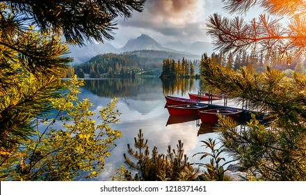 Incredible view of Strbske Pleso during sunset, Slovakia. Dramatic, picturesque scene. Popular tourist attraction. Location place National Park High Tatra. Europe. Artistic picture. Amazing Landscape
