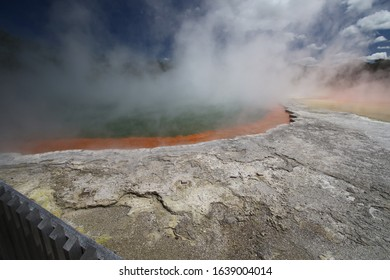 an incredible volcanic hot water pool near rotorua on northern island of new zealand
