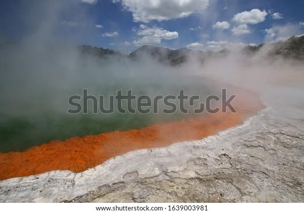 an incredible volcanic hot water pool near rotorua on northern island of new zealand
