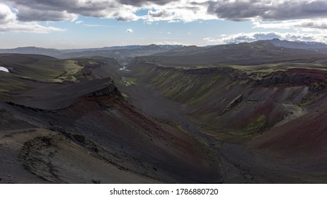 Incredible, volcanic landscape of the Eldgja canyon. The volcanic canyon is located within the Vatnajokull National Park in the highlands of Iceland.