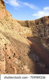 Incredible volcanic landscape in the volcano crater of El Cuervo. Lanzarote. Canary Islands. Spain