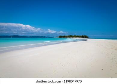 Incredible white sand beach of tropical paradise island Nosy Iranja, near Nosy Be, Madagascar.