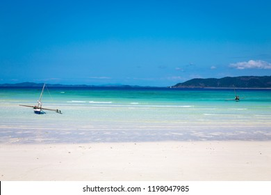 Incredible white sand beach of tropical paradise island Nosy Iranja, near Nosy Be, Madagascar.