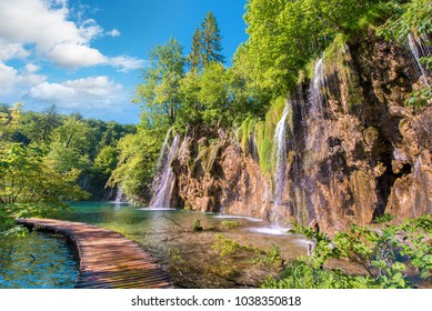 Incredibly beautiful fabulous magical landscape with a bridge near the waterfall in Plitvice, Croatia (harmony meditation, antistress - concept)