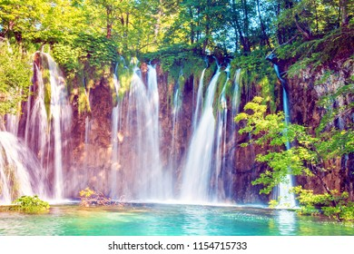 Incredibly beautiful fabulous magical landscape with a waterfall in Plitvice, Croatia (harmony meditation, antistress - concept)