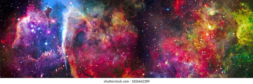Incredibly beautiful galaxy in outer space. Nebula night starry sky in rainbow colors. Multicolor outer space. Elements of this image furnished by NASA.