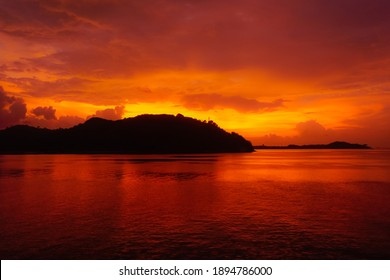 Incredibly beautiful sunset on the island of Lombok in Indonesia