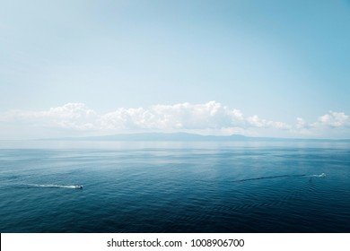 Incredibly blue sea and blue sky landscape in Greece
