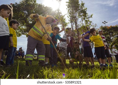 Indaiatuba, December 14, 2016, a group of unidentified people planting a tree with the aid of an enchada at dusk, in an unidentified park.