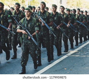 INDAIATUBA, SAO PAULO/BRAZIL - SEPTEMBER 07 2018: Brazilian's Independence Day celebrated with a parade of the Brazilian Army and other governmental armed forces.