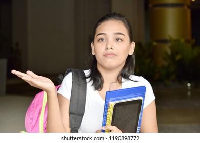 Indecisive Minority Student Teenager School Girl