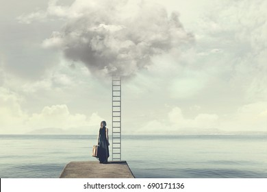 Indecisive woman does not know if climb up a ladder from the cloud to a disenchanted destination