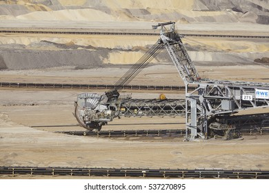 INDEN, GERMANY - SEPTEMBER, 10. Bucket excavator at soft coal opencast mining Inden at the Rhenania brown coal field (Inden, Northrhine Westphalia, Germany) on September 10, 2016.
