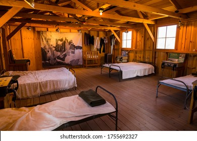 Independence, California, USA - October 26, 2018: View of the interior of one of the barracks of the Nikkei concentration camp of Manzanar in Independence, California, USA
