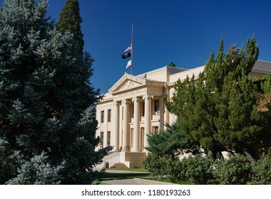 Independence, California USA - September 11, 2018: Classical Revival style Inyo County Courthouse, set amid lush trees in its Owens Valley location. Built in 1921.