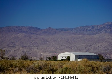 Independence, California USA - September 11, 2018: Auditorium building at Manzanar Relocation Center concentration camp, with Inyo Mountains. National Historical site, Holds museum and visitor center.