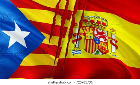 Independence Catalonia and Spain flags with scar concept. Waving flag 3D rendering. Referendum Catalonia flag concept. Official flag of Catalan and Catalonia.  Yellow, blue and red flags