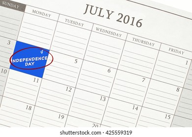 Independence Day 4th July 2016 Calendar Close Up