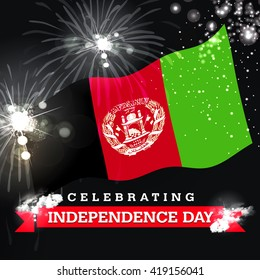 Independence Day fireworks and the Afghanistan flag. concept