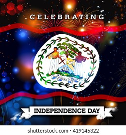 Independence Day fireworks and the Belize flag. concept