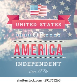 Independence day graphic against united states of america flag