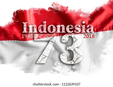 Independence Day Indonesiawith red and white flag.