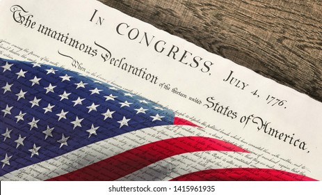 independence day usa flag and 4th july original declaration of independence of united states of america on wooden background top down wide view document is public domain courtesy by National Archives