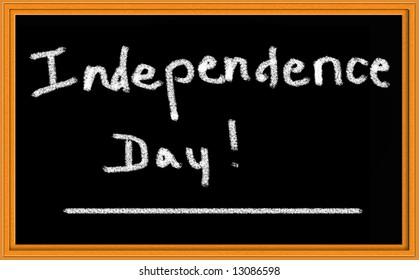 Independence Day written on Chalkboard