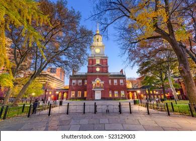 Independence Hall during autumn season in Philadelphia, Pennsylvania, USA.