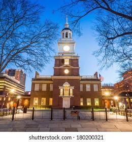 Independence Hall National Historic Park Philadelphia at twilight