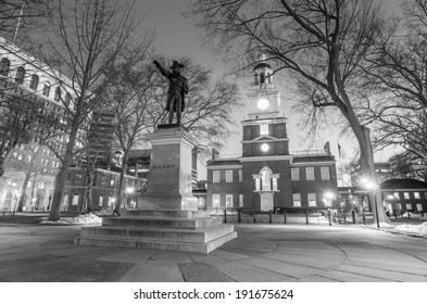 Independence Hall National Historic Park Philadelphia at twilight in black and white