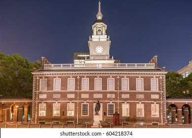 Independence Hall at night in Independence National Historic Park, Philadelphia, Pennsylvania