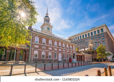 Independence Hall in Philadelphia, Pennsylvania USA with blue sky