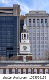 Independence Hall in Philadelphia Pennsylvania USA with Philadelphia cityscape skyline building in Background. Independence Hall is site of the signing of the Declaration of Independence in 1776.
