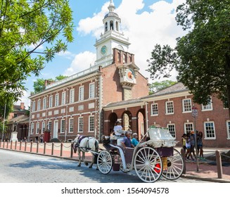 Independence Hall, Philadelphia, USA.  The United States Declaration of Independence and the United States Constitution were debated and adopted in this historical and beautiful building. August 2019