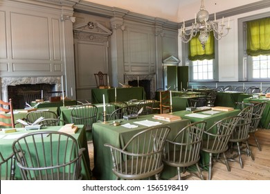 Independence Hall's Assembly Room, Philadelphia, USA. Both the Declaration of Independence and Constitution were drafted and signed in this room.  Independence National Historical Park. August 2019.