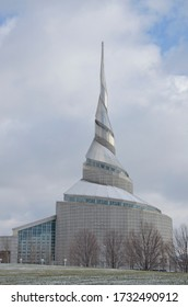 Independence, Missouri - December 24, 2017:  The Temple, built by the Community of Christ (formerly the Reorganized Church of Latter Day Saints) stands on the the Temple Lot in Independence, Missouri.