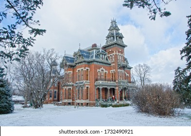 Independence, Missouri - December 24, 2017:  The Harvey Vaile Mansion is a Victorian home built in 1881 in Independence, Missouri.  Colonel Vaile designed it with the latest amenities.